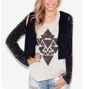 LUSH Beaded sleeve crop black peek a boo jacket